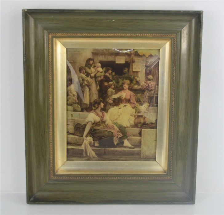 A Verre Eglomise Victorian painting. 19cm x 24cm