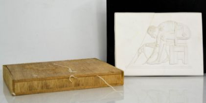 Eduardo Paolozzi (1924-2005) Newton (After Blake) plaster plaque, with original box, signed by the