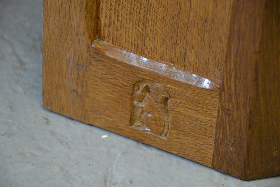 An oak Wilf Hutchinson 'Squirrelman' corner cabinet, with panelled door and carved squirrel - Image 2 of 2