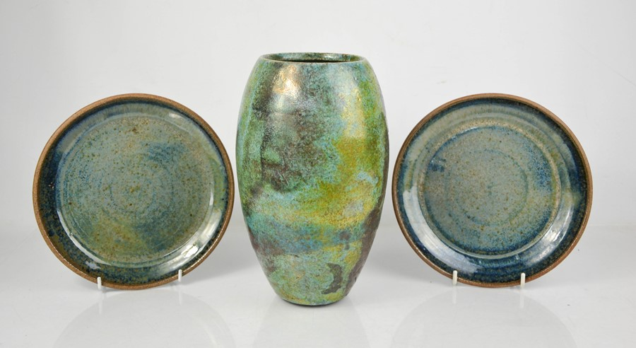 A Studio pottery vase and two dishes, all stamped with makers mark to the bases.