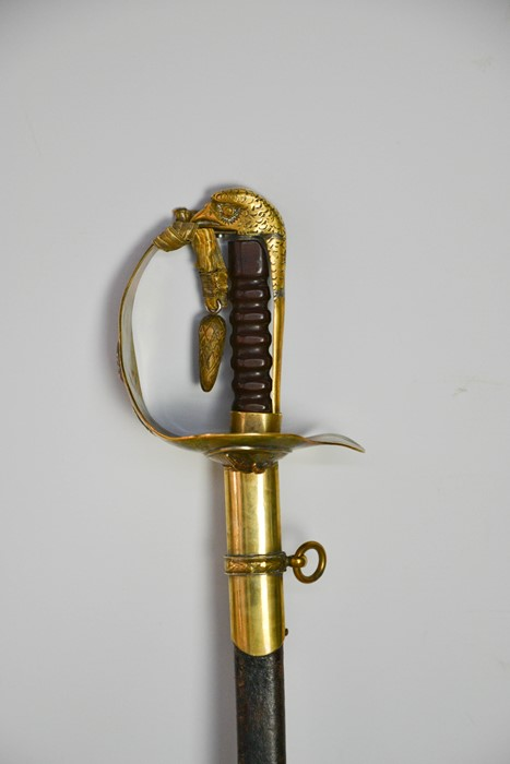 An RAF dress sword with brass hilt, complete with dust sheet, and leather scabbard, with applied RAF - Image 2 of 7