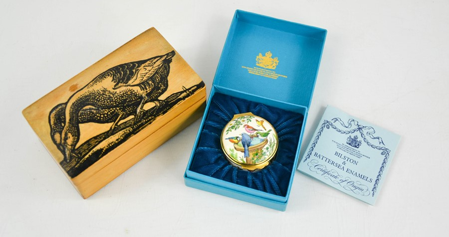 A satinwood box hand painted with geese, together with a Bilston and Battersea enamel pill box.