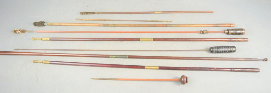 A group of vintage gun cleaning rods, some Parker-Hale examples