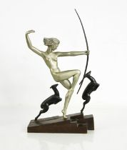 Marcel Andre Bouraine (1886-1948): Diana the Huntress with Leaping Fawns, Art Deco, signed