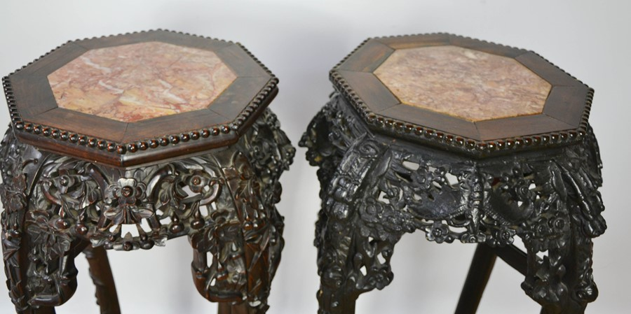 Two similar Chinese jardinere stands, the hardwood carved octagonal tops inset with marble, above - Image 3 of 4
