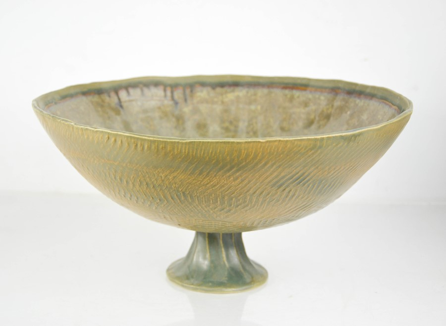 Catriona McLeod (born 1946): a large Studio pottery pedestal bowl, initialled CMc to the base.