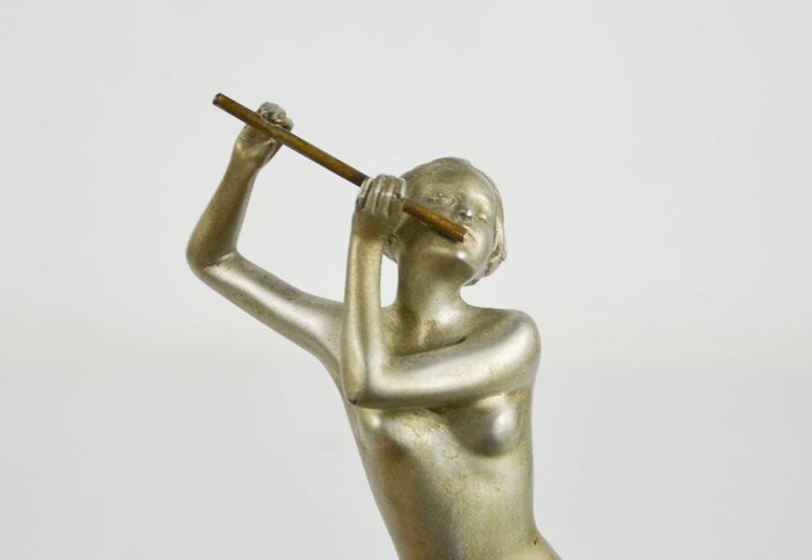 Josef Lorenzl (1892-1950): Flute Player, Art Deco figurine circa 1930, matt silver patination, - Image 5 of 5