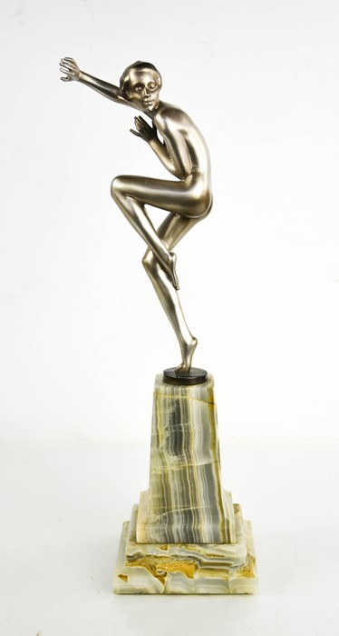 Josef Lorenzl (1892-1950): an Art Deco dancing lady, with gloss silver patination, signed to the