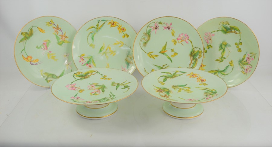 Two vintage cake stands, and four James Green hand painted plates circa 1850.
