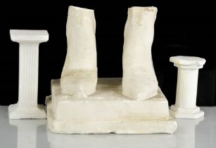 Eduardo Paolozzi (1924-2005): two plaster columns and a pair of feet A/F. Feet 12cms tall to include