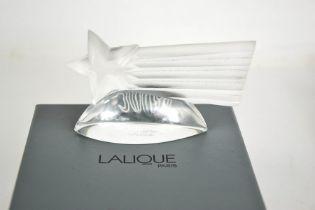 A Lalique Millennium comet, etched 2000 Lalique to the base, with original box. 10cms wide