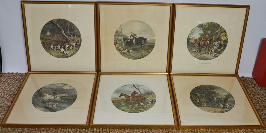 A set of six 19th century prints, hunt scenes in roundels, engraved by G Hester, printed by