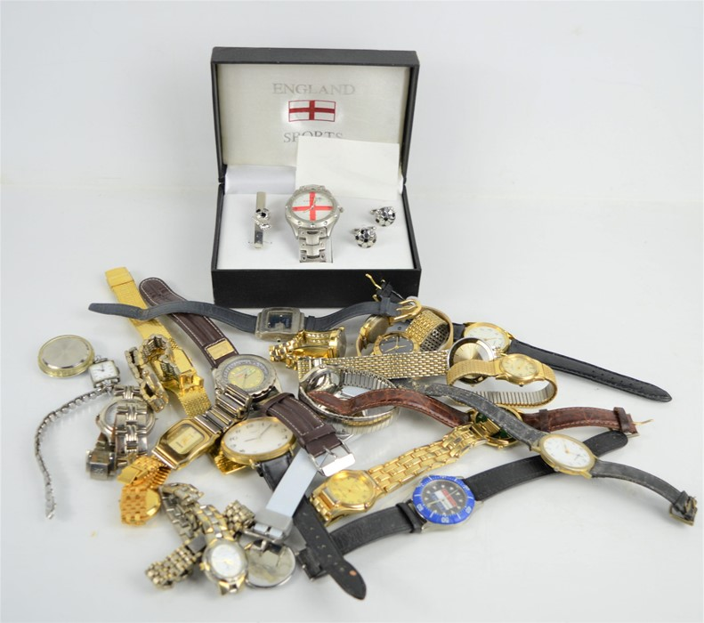 A group of vintage watches to include Dakar racing Loctite sponsored men's watch, England watch