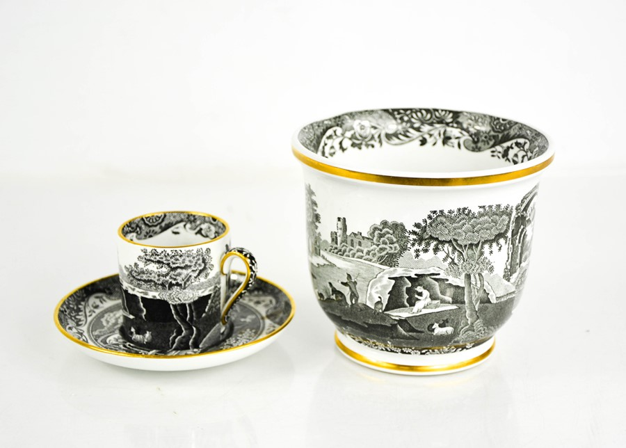 A Spode black and white coffee can and saucer and bowl 11cm high.