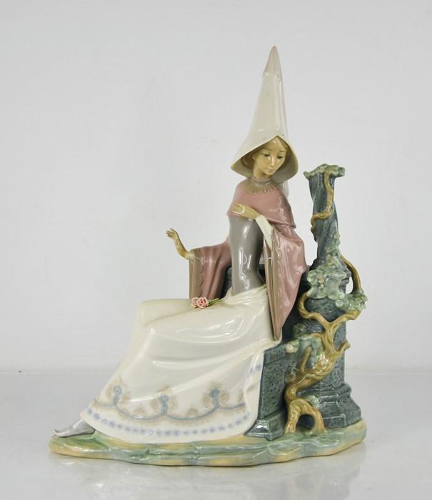 A Lladro porcelain Medieval Lady, 37cm high.