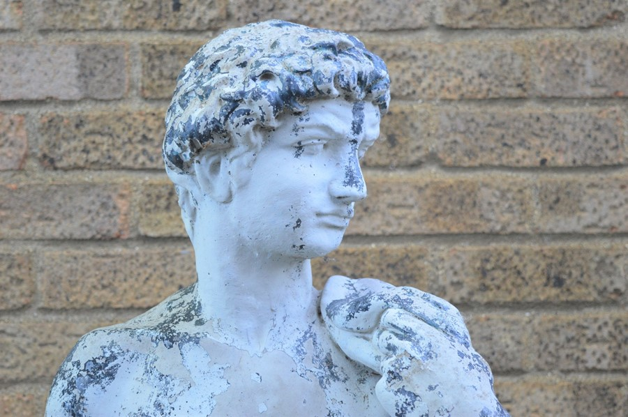 A Classical style garden statue on plinth, male figure. 164cms - Image 2 of 2