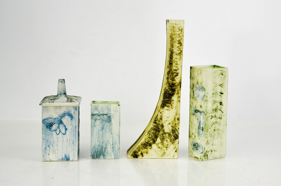 Four pieces of Carn Pottery, Cornwall to include three vases and one jar and cover.