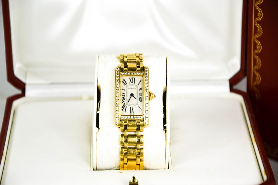 An 18ct gold and diamond Cartier wristwatch, in the Tank Americaine design, silver grained dial - Image 2 of 6