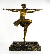 Pierre LeFaguay (20th century): Dancer with Thyrssus, golden bronze patination, raised on a black