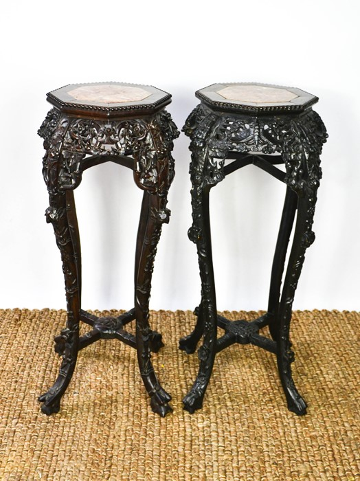 Two similar Chinese jardinere stands, the hardwood carved octagonal tops inset with marble, above - Image 2 of 4