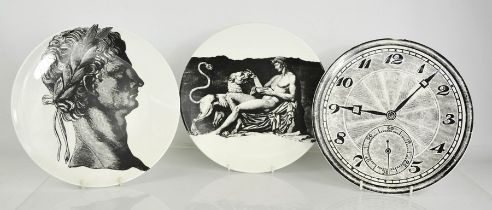 Three Timney Fowler of London porcelain plates, circa 1980, each with their own design to include