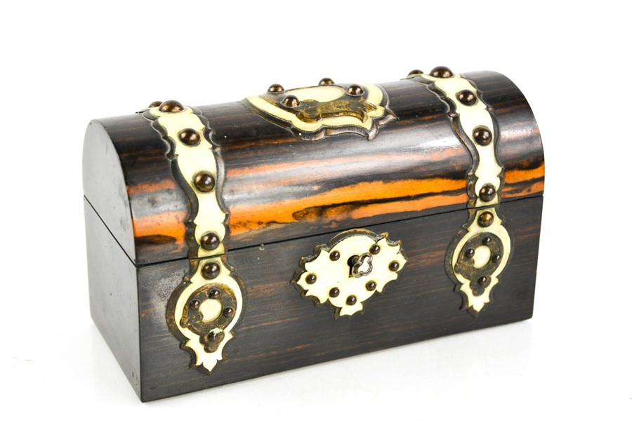 A 19th century coromandel scent casket, circa 1870, with domed lid and brass strapwork, overlain - Image 2 of 4