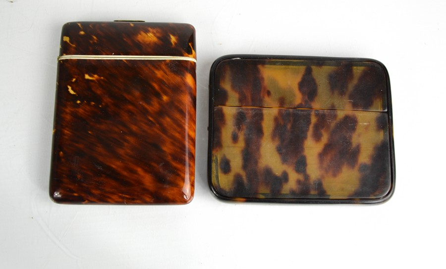 A 19th century tortoiseshell card case, together with a faux tortoiseshell example.