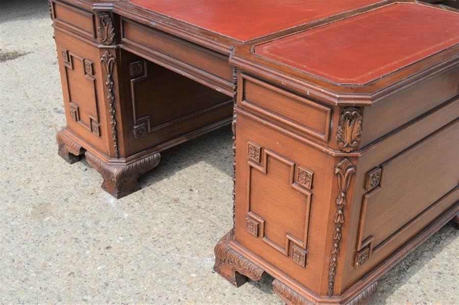 A Chinese hardwood pedestal desk with decorative panels to side and rear, 151 by 89 by 76cm. - Image 3 of 3