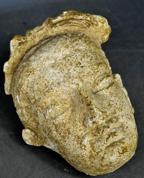 A rare Gandhara carved stone head, circa 2000BC 16cm high. - Image 4 of 6