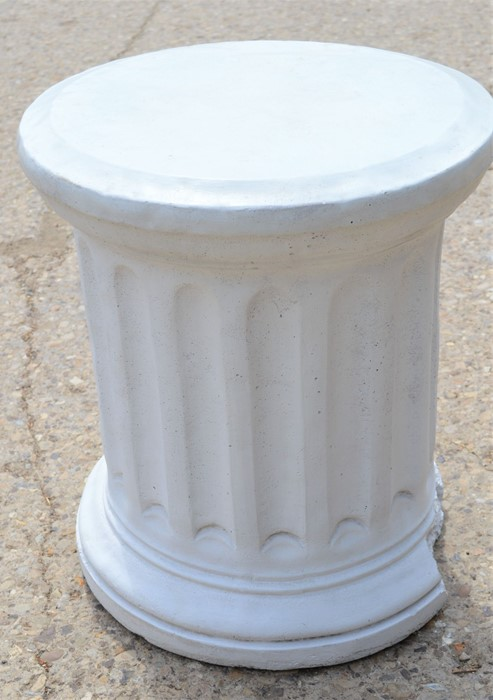 A reconstituted stone Corinthian style pedestal column 56cms tall x 48cms diameter