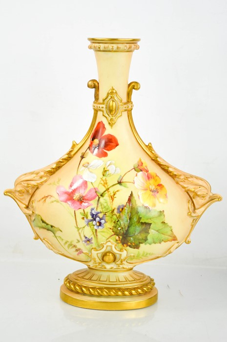 A Royal Worcester blush ivory vase painted with flowers and leaves, with a sprig of flowers to the