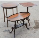A group of three occasional tables to include an Edwardian oval example
