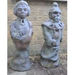 Two reconstituted stone statues, Chinese male and female figures. 87cms