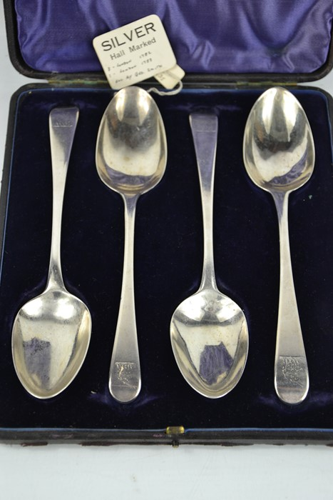 A set of four 18th century George Smith silver serving spoons, London 1782 and 1783, in the original - Image 2 of 2