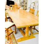 A Wilf Hutchinson 'Squirrelman' oak refectory/trestle table, with adzed top, the carved pillars