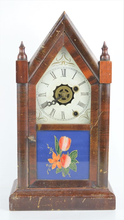 A 19th century Ansonia brass and copper company mantel clock in the form of a steeple, with roman