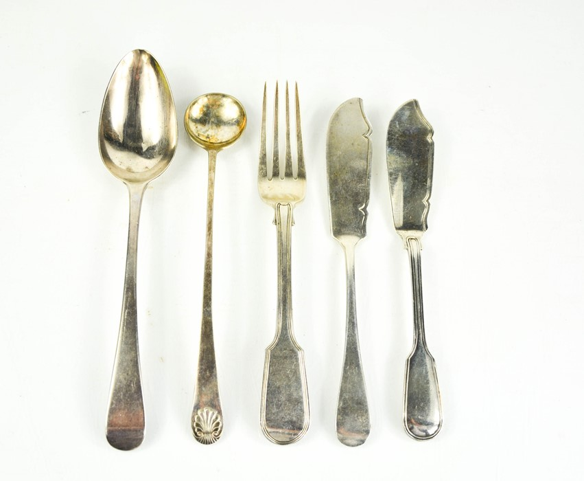 A group of silver to include two fish knives, silver plated sauce spoon, Georgian serving spoon