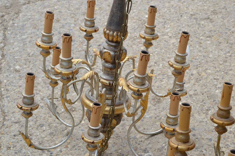 A pair of 20th century wood and metal twelve branch chandeliers with gold decoration - Image 3 of 3