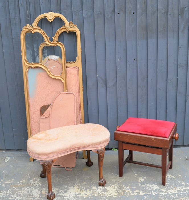 A mahogany adjustable stool together with a French style giltwood folding screen together with a