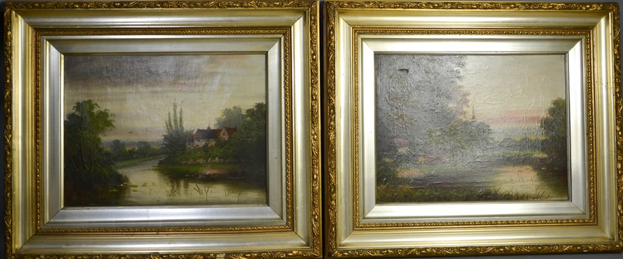 A pair of 19th century oil on canvas, depicting cattle in landscape and cottage beside river,
