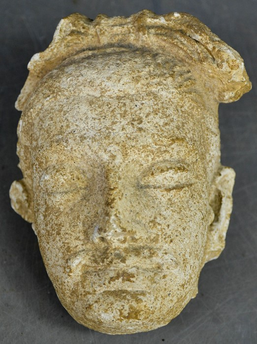 A rare Gandhara carved stone head, circa 2000BC 16cm high. - Image 5 of 6