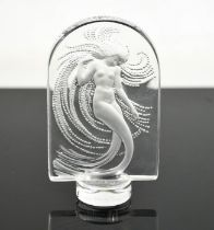 A Lalique Art Nouveau mermaid paperweight, signed to base Marie-Claude Lalique 10cms tall
