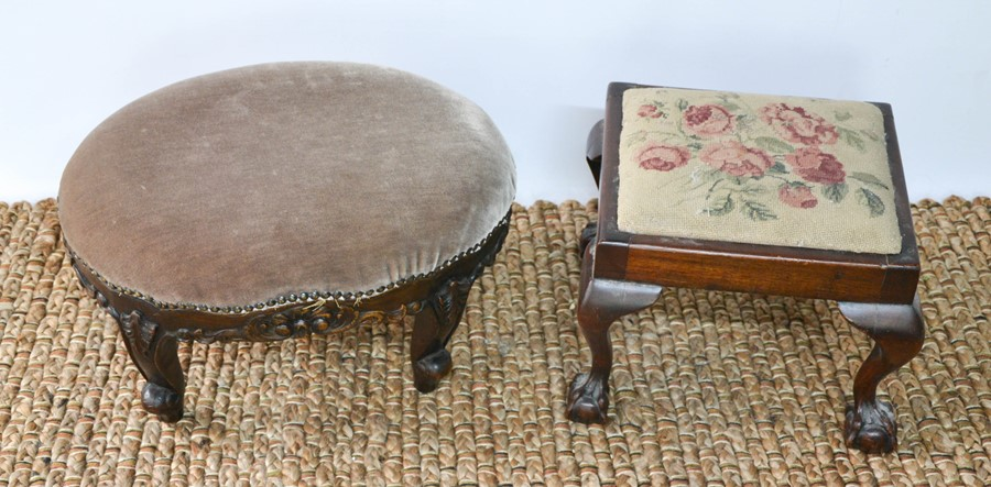 Two 19th century foot stools, one with carved base, the other with floral tapestry drop in top.