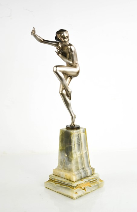 Josef Lorenzl (1892-1950): an Art Deco dancing lady, with gloss silver patination, signed to the - Image 2 of 4