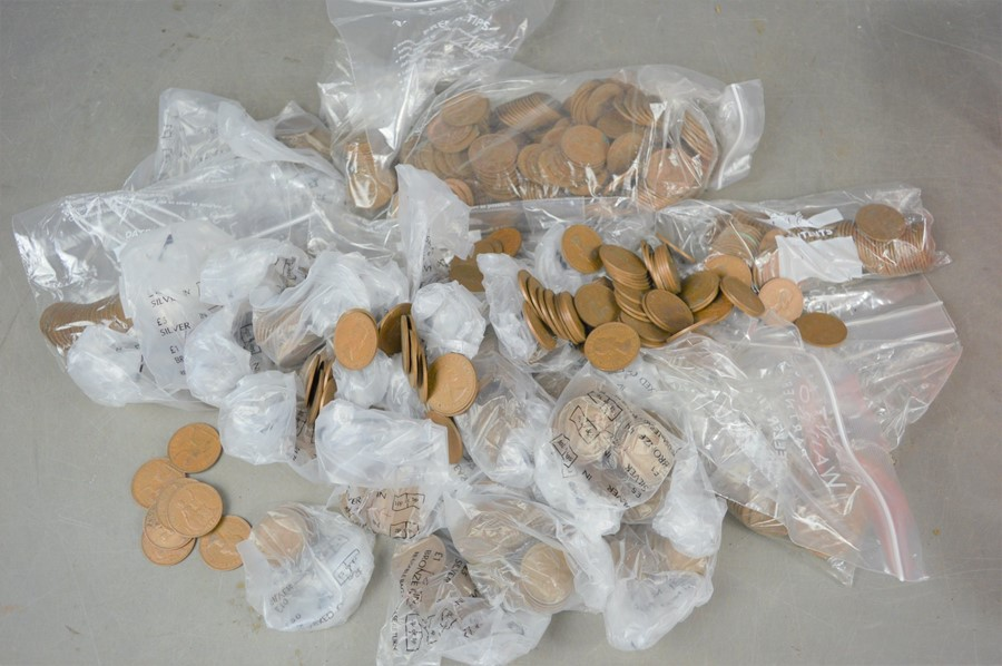 A quantity of old British one penny coins