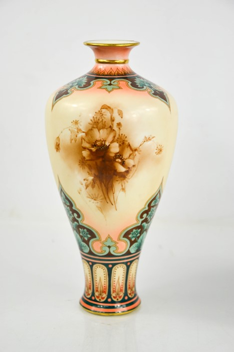 A Royal Worcester vase of baluster form, painted with flowers, by Hadley, circa 1900, 9.5ins high.