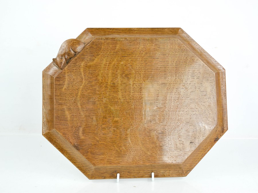 An early Robert Thompson 'Mouseman' bread board, with carved mouse signature, 30cm wide.