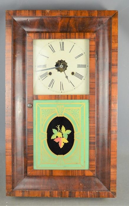 A 19th century American wall clock with painted glass panel, thirty hour, together with an Edwardian