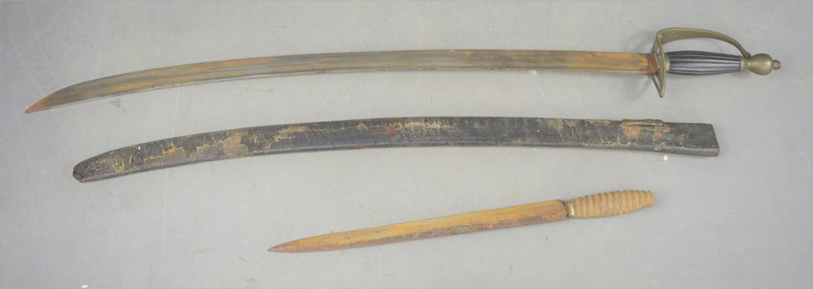 A 19th century sword and sheath together with a double edged dagger, sword length 72cm