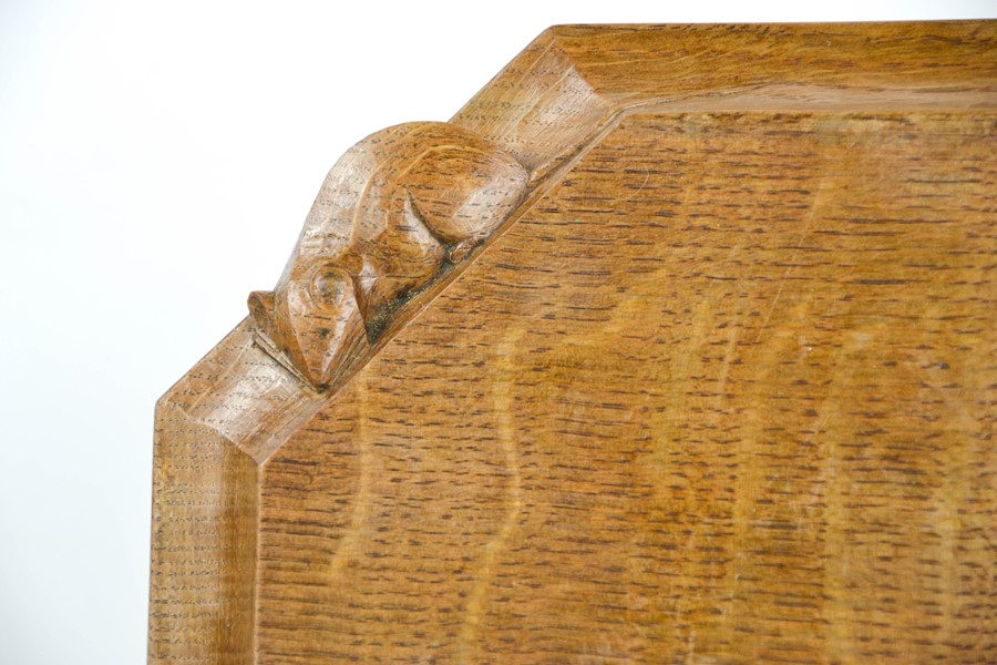 An early Robert Thompson 'Mouseman' bread board, with carved mouse signature, 30cm wide. - Image 2 of 2